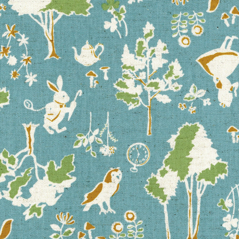 Unique Alice in Wonderland Fabric with deer owls and rabbits from Kokka Japanese Fabrics - view 1