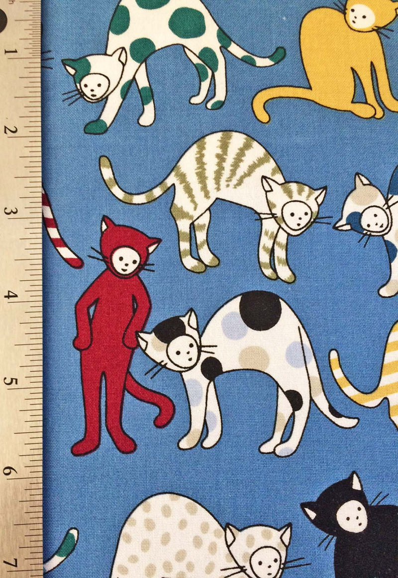 Cats on blue cotton from Alexander Henry Fabric - view 3