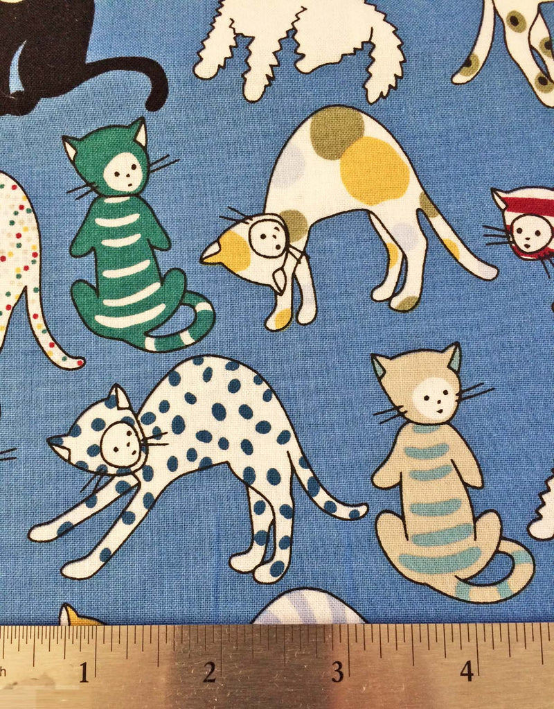 Cats on blue cotton from Alexander Henry Fabric - view 4