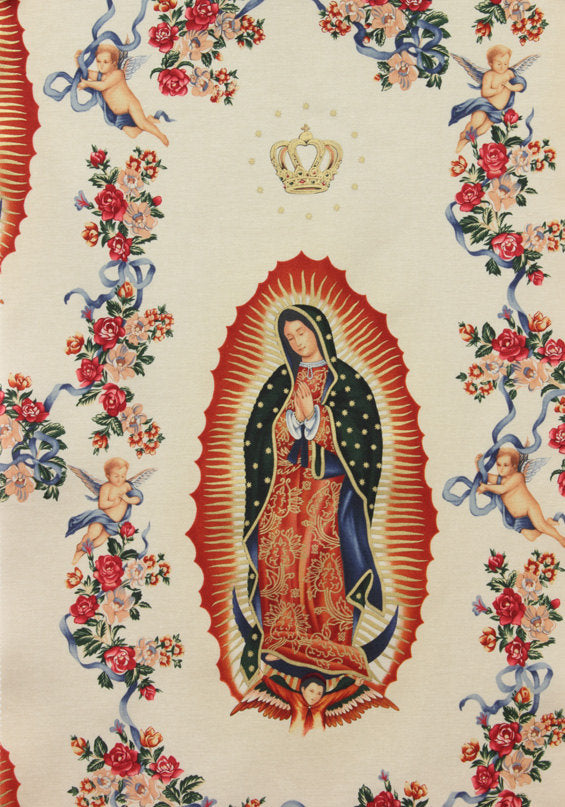 Guadalupe figures and cherubs on taupe cotton with gold metallic from Alexander Henry Fabrics - view 1