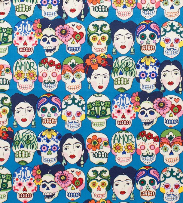 Frida faces and skulls on blue cotton from Alexander Henry Fabrics - view 1