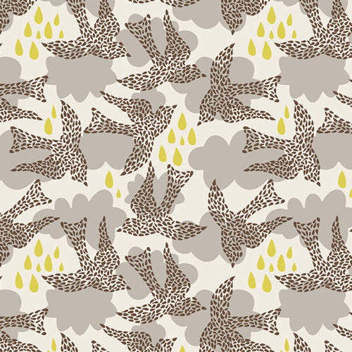 Unique birds fly over gray clouds and gold raindrops from Art Gallery Fabrics