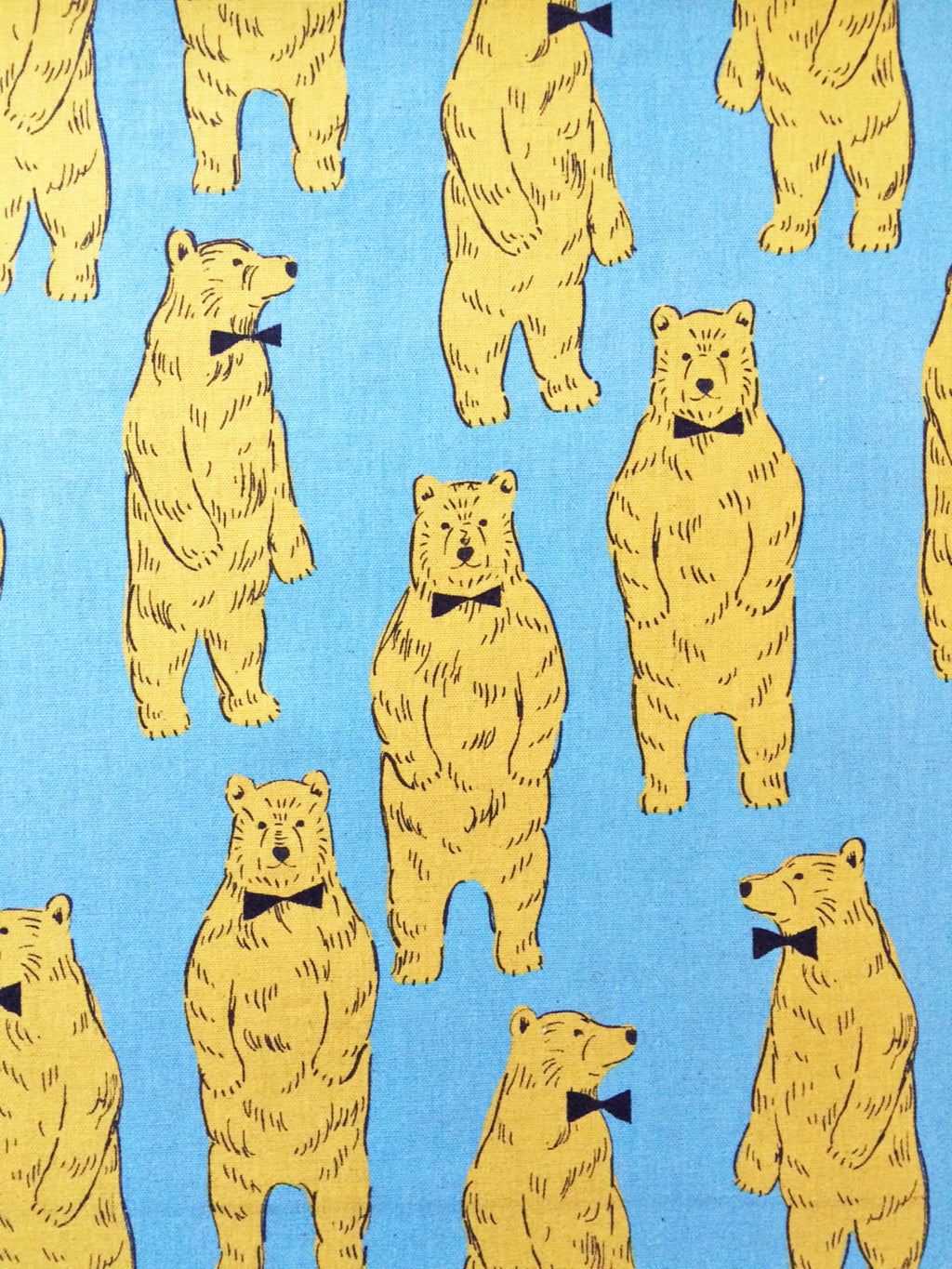Large Bear Print from Kokka on Blue Canvas Fabric