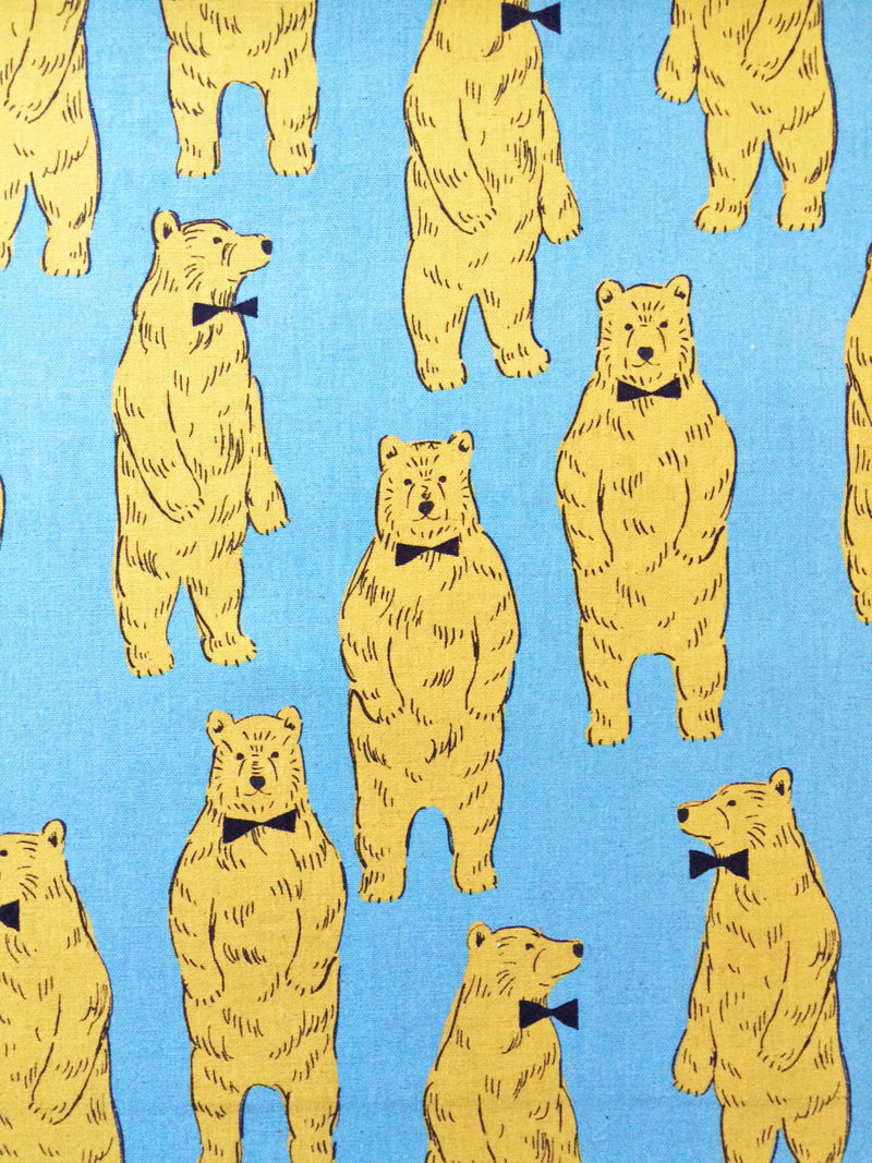 Large Bear Print from Kokka on Blue Canvas Fabric - view 1