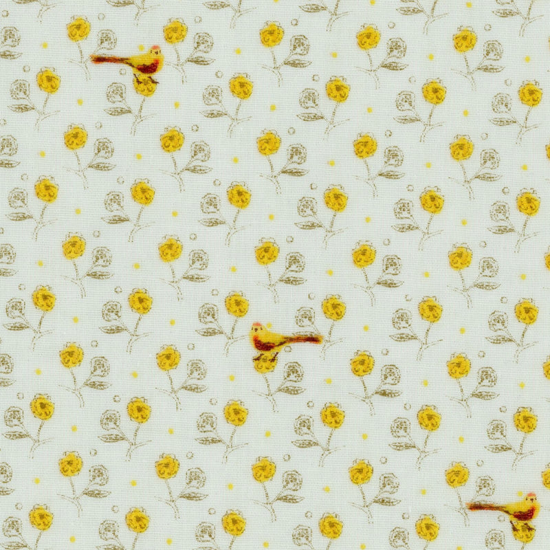 Yellow bird and flower fabric on double gauze from Kokka - view 1