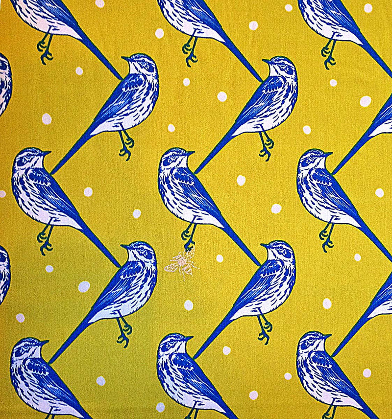 Beautiful birds on quality golden sateen look like detailed sparrows perched with a bumble bee from Kokka Fabric - view 1