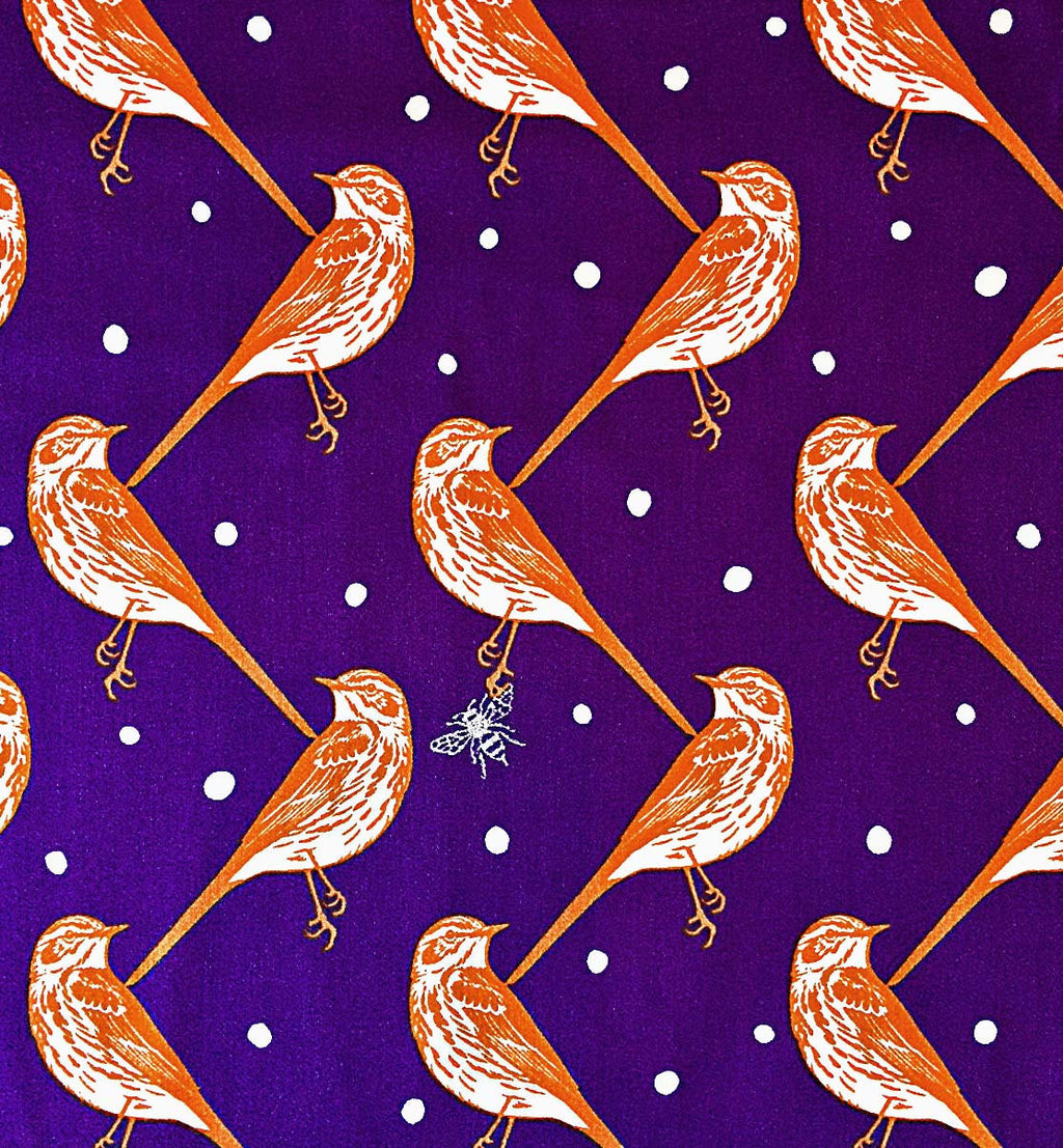 Red Birds on purple sateen cotton from Seven Islands Fabric - view 1
