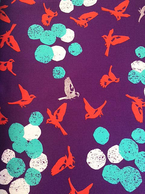 Birds on Purple Sateen cotton fabric with silver metallic from Seven Islands Fabric - view 2