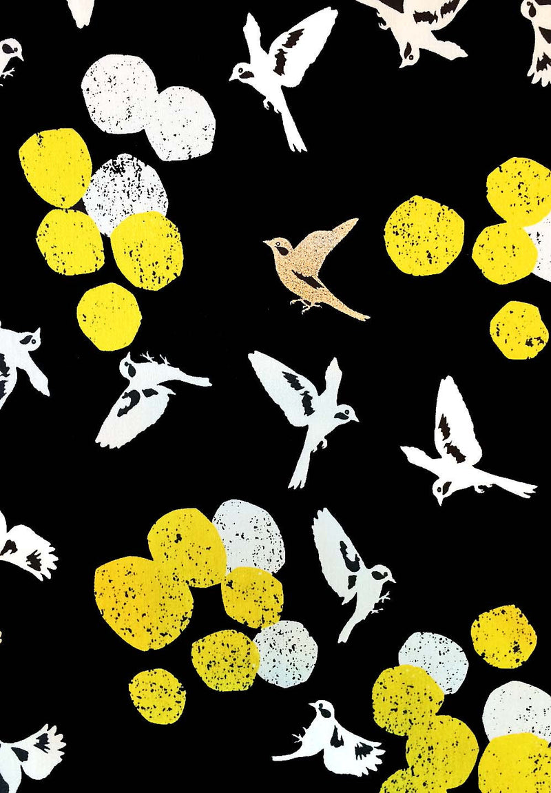 Beautiful birds on black sateen from Japanese import Kokka Fabric - view 1