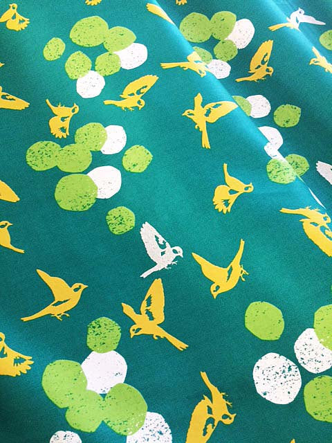 Beautiful gold birds on emerald green sateen from Kokka Fabric - view 3
