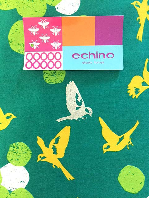 Beautiful gold birds on emerald green sateen from Kokka Fabric - view 2