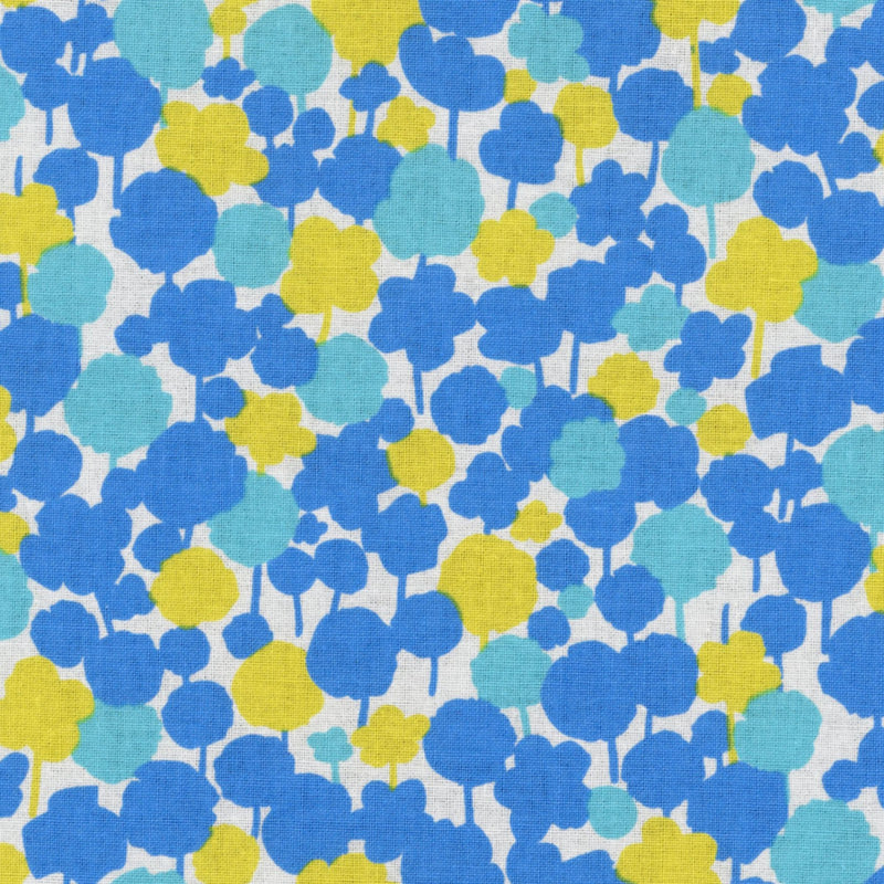 Yellow and blue floral on white cotton from Kokka Fabrics - view 1