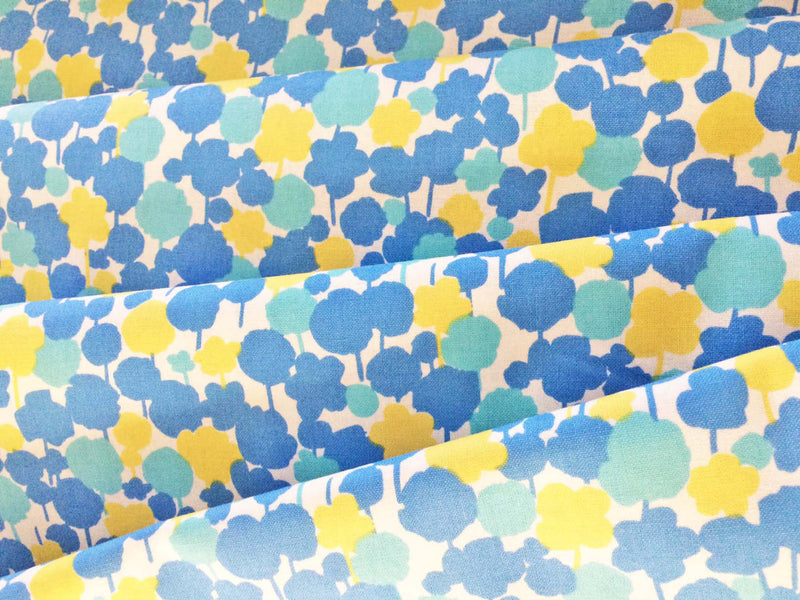 Yellow and blue floral on white cotton from Kokka Fabrics - view 3