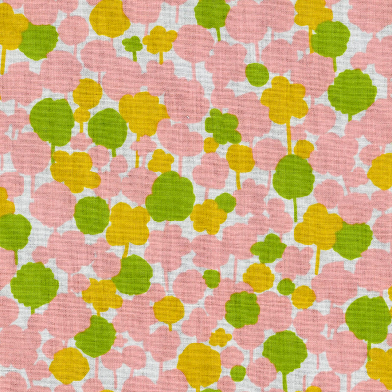 Pink and green floral on white cotton from Kokka Fabrics - view 1