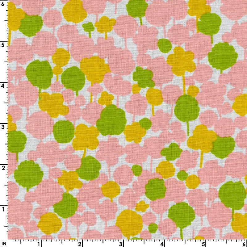 Pink and green floral on white cotton from Kokka Fabrics - view 2