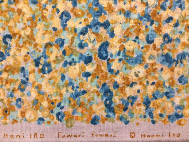 Yellow and blue floral on natural brushed cotton from Kokka Fabrics - view 4