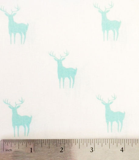 Blue deer silhouettes on white cotton fabric from EE Schenck - view 3