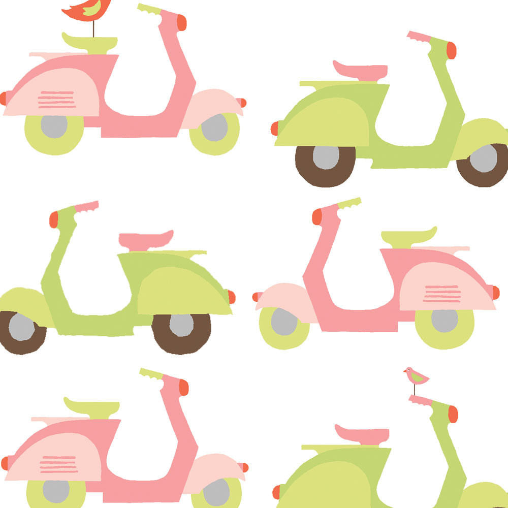 Pink and green scooters on white organic cotton from Monaluna Organic Fabrics - view 1