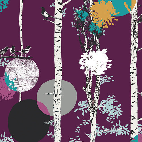 Modern Forest Fabric with Magpies in trees from Art Gallery Fabrics - view 1
