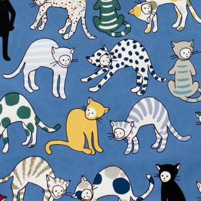 Cats on blue cotton from Alexander Henry Fabric - view 1