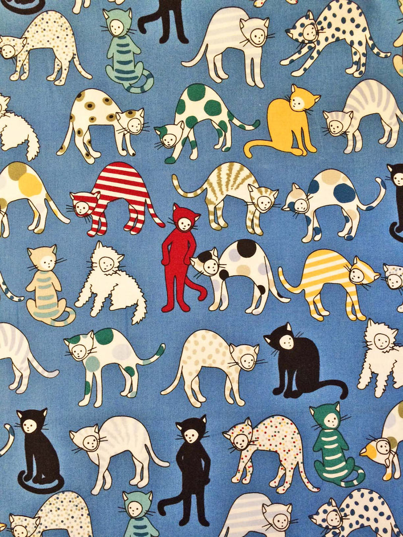 Cats on blue cotton from Alexander Henry Fabric - view 2