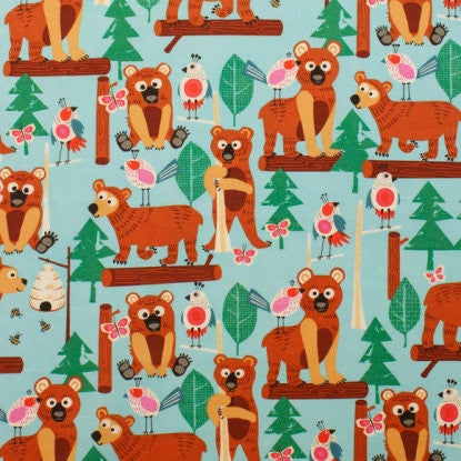 Bear fabric with cute birds in a forest scene from Alexandar Henry Fabric - view 1