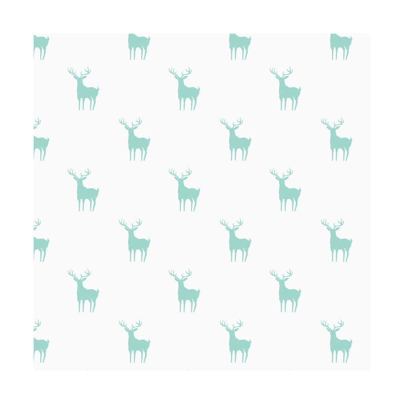 Blue deer silhouettes on white cotton fabric from EE Schenck - view 1