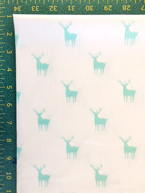 Blue deer silhouettes on white cotton fabric from EE Schenck - view 2