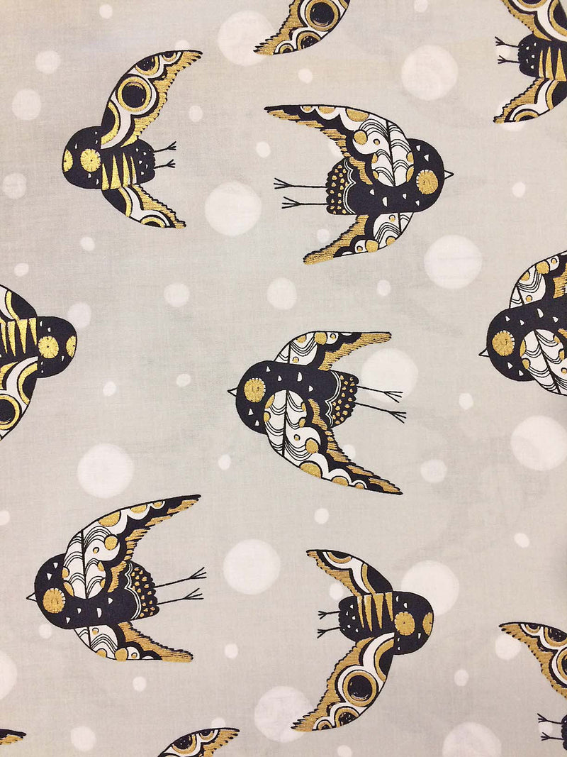 Night owl fabric with gold metallic from Cotton + Steel - view 2