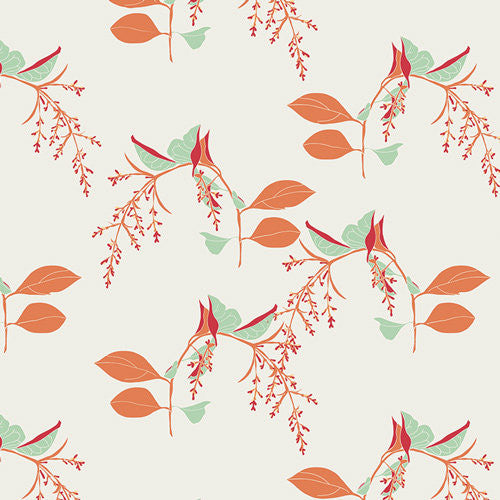 Pretty orange and sage green floral fabric from Art Gallery - view 1