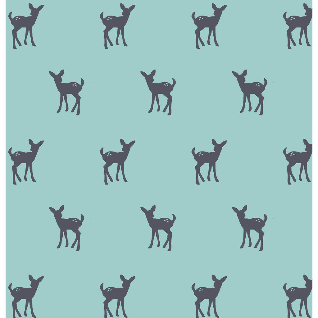 Deer on Blue Knit Fabric