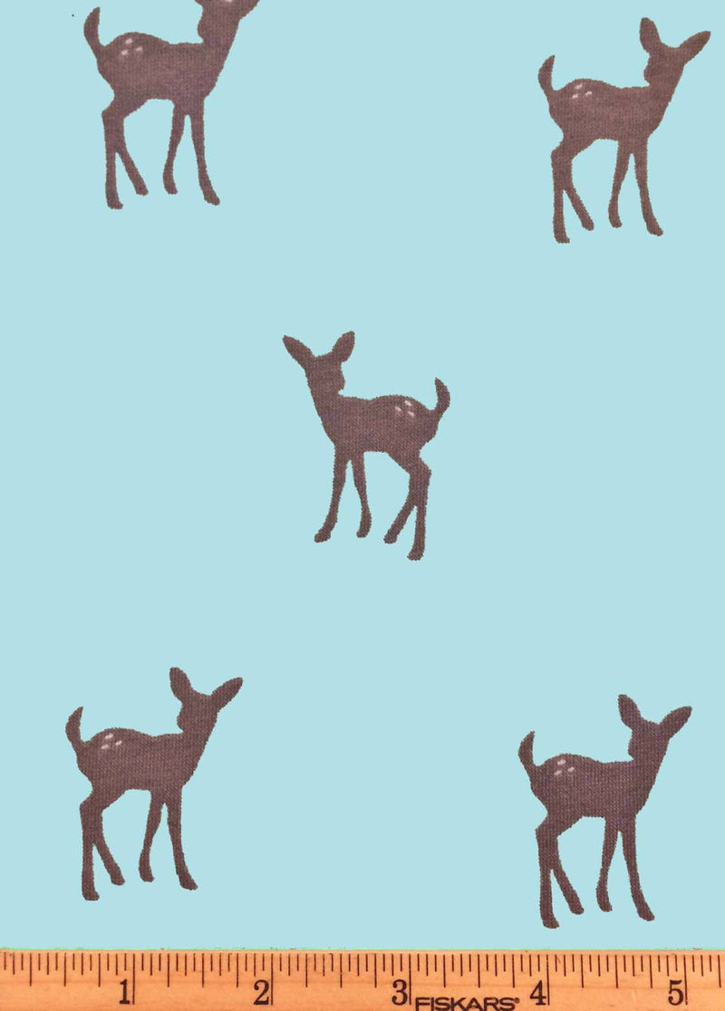 Deer on Blue Knit Fabric from EE Schenck - view 2