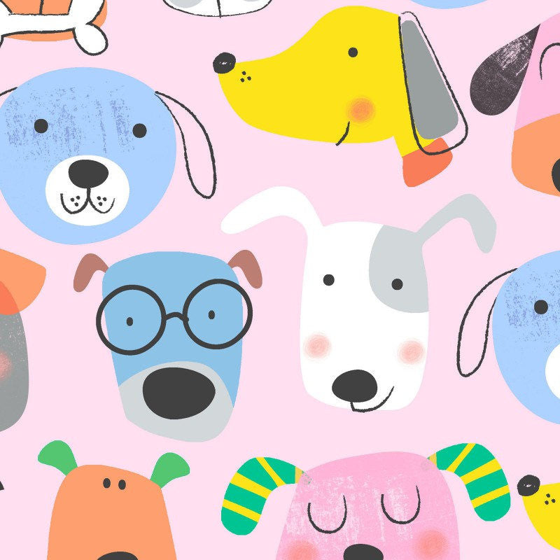 Cute dogs on pink flannel cotton from EE Schenck - view 1