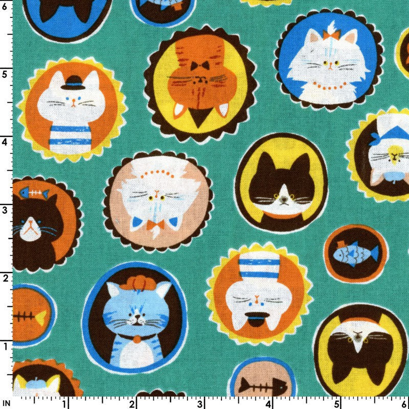 Cute kitty cat fabric on teal green cotton from EE Schenck - view 2