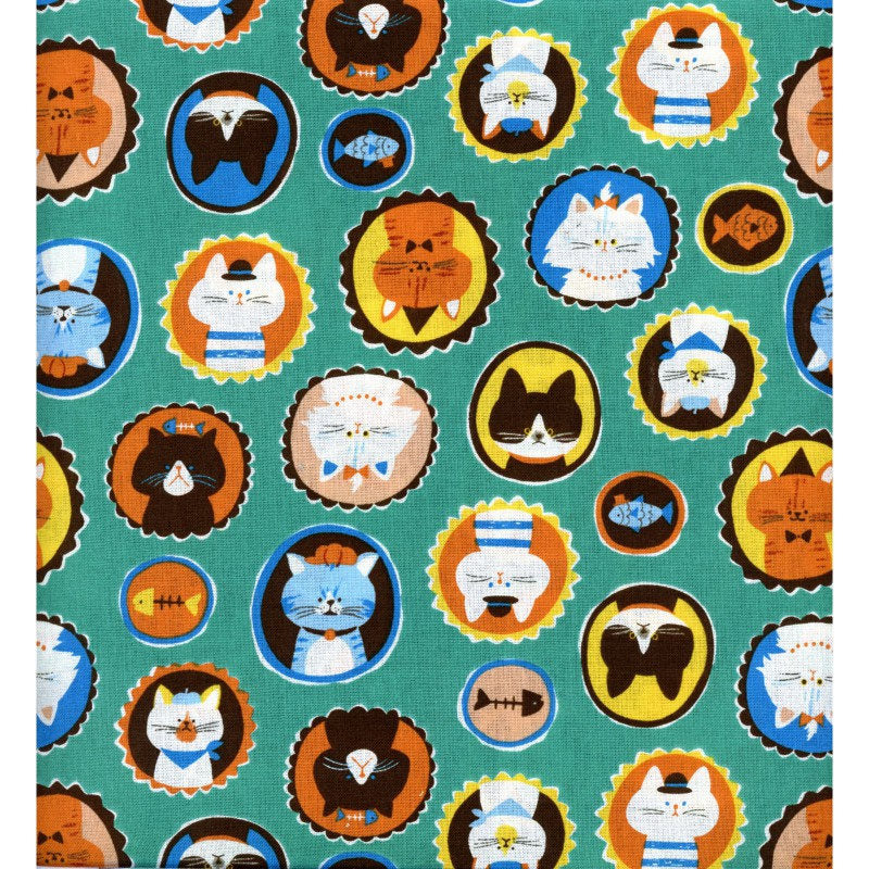Cute kitty cat fabric on teal green cotton from EE Schenck - view 3