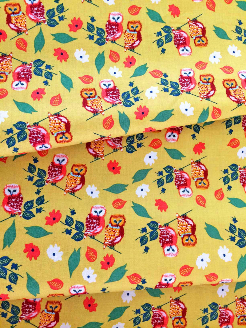Owls on gold yellow cotton with flowers from Blend Fabrics - view 2