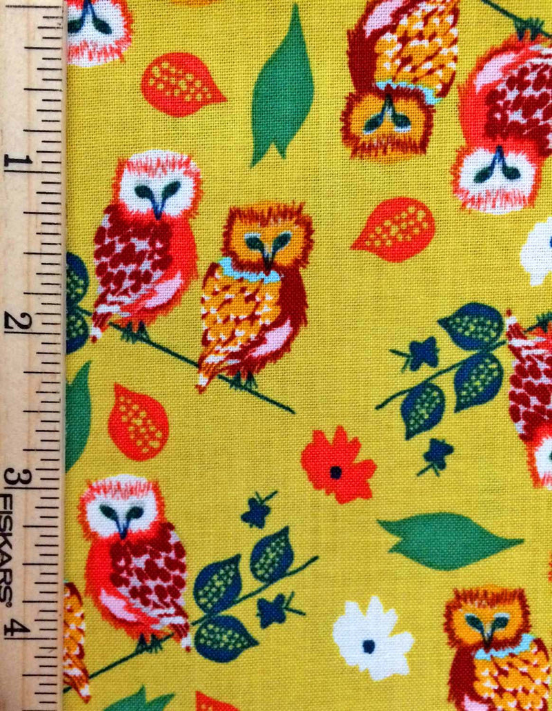 Owls on gold yellow cotton with flowers from Blend Fabrics - view 4