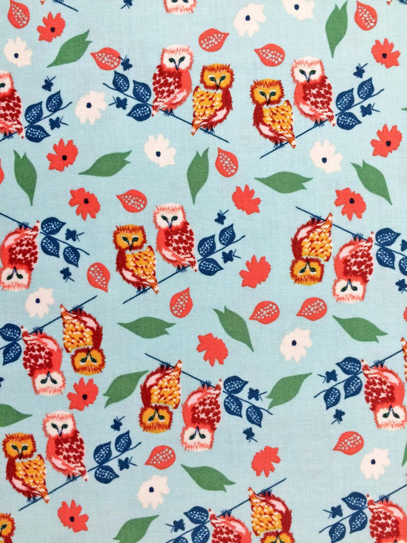 Owls and flowers on blue cotton fabric from Blend Fabrics - view 1