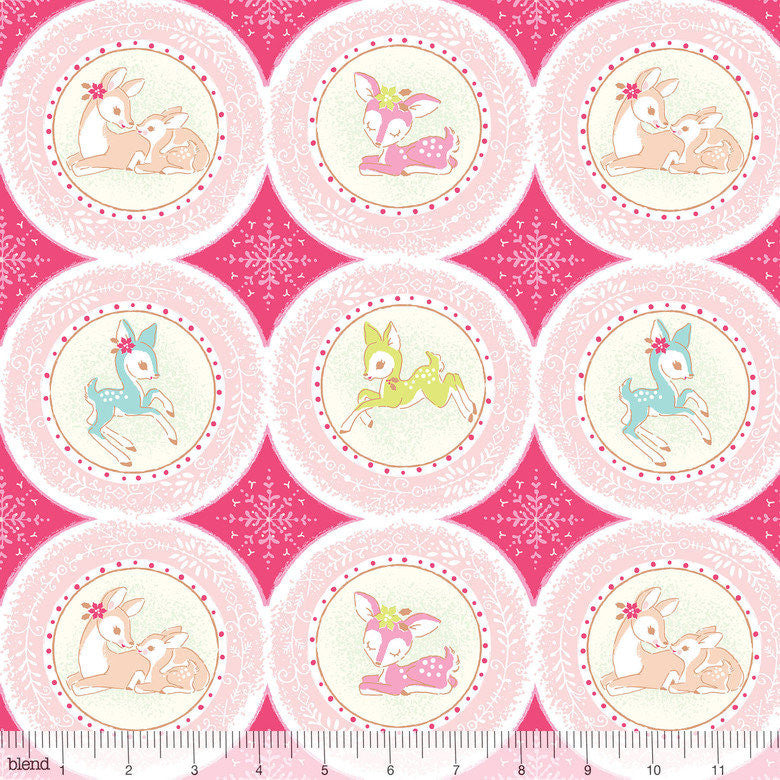 Cute retro deer fabric in pink from Blend Fabrics - view 1