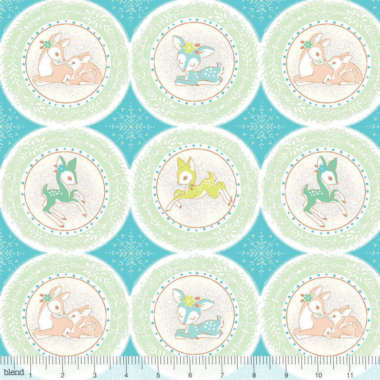 Cute retro deer fabric in blue from Blend Fabrics - view 1