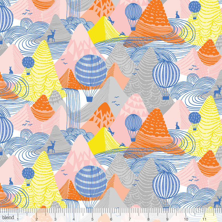 Hot Air Balloons float over a mountain range on 100% cotton from Blend Fabrics - view 1
