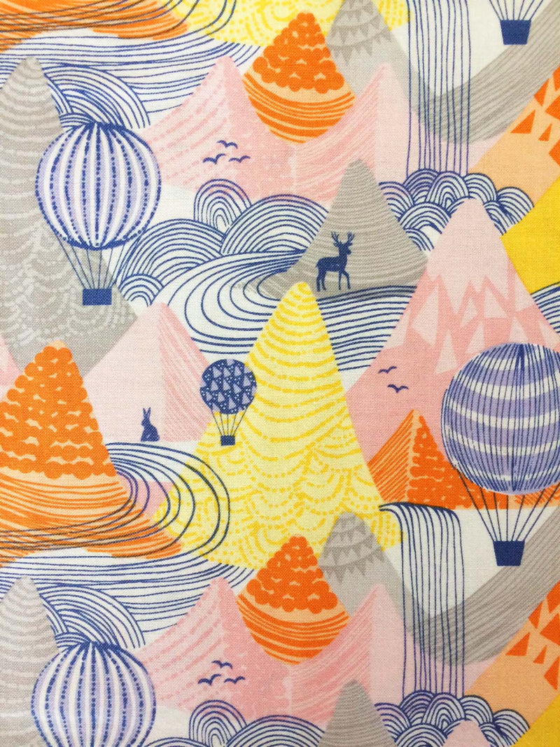 Hot Air Balloons float over a mountain range on 100% cotton from Blend Fabrics - view 3