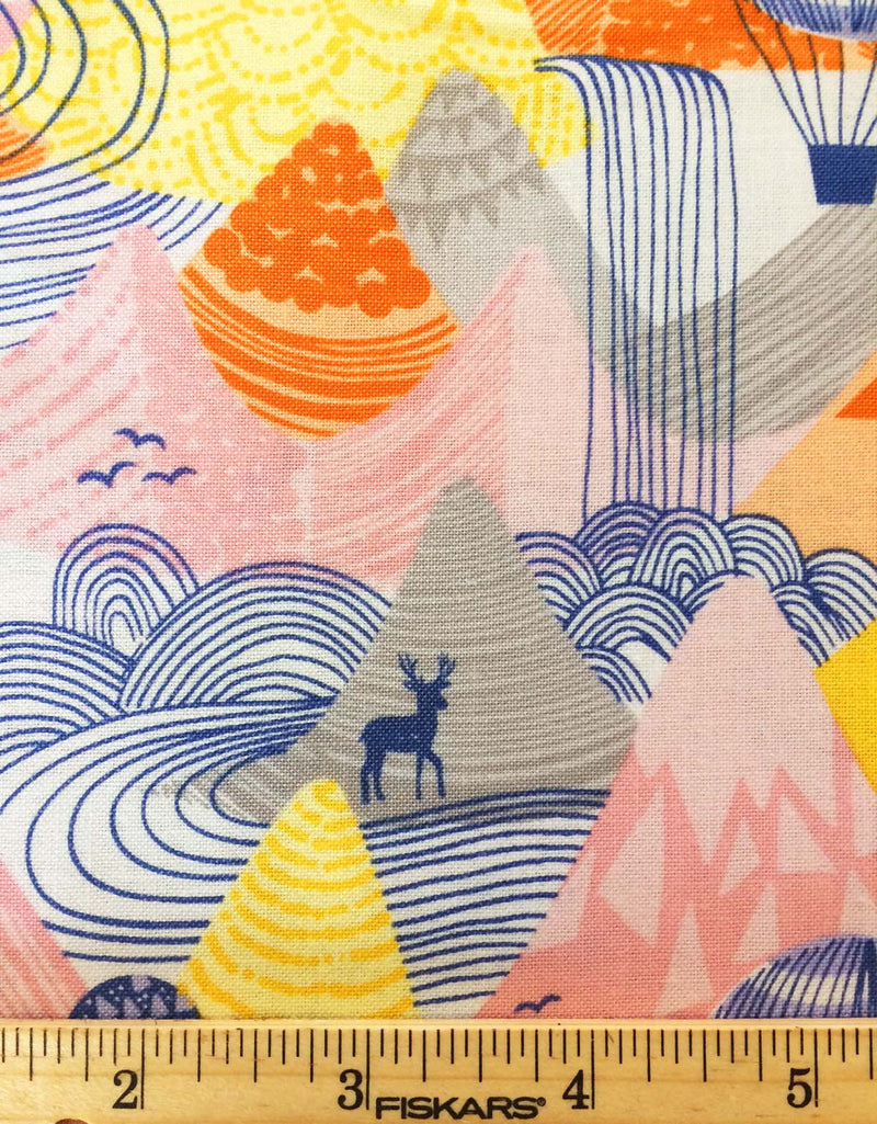 Hot Air Balloons float over a mountain range on 100% cotton from Blend Fabrics - view 4