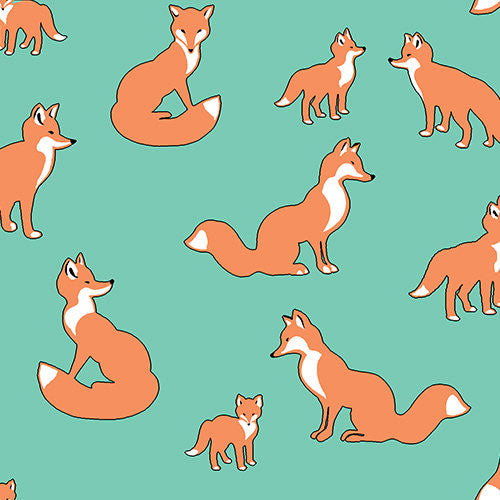 Cute foxes on blue soft knit fabric from EE Schenck - view 1