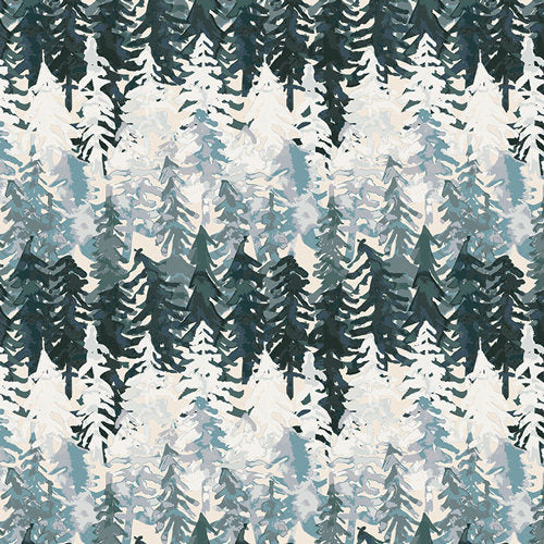White and green tree cotton fabric from Art Gallery Fabrics - view 1