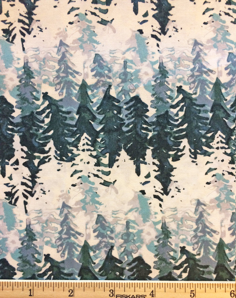 White and green tree cotton fabric from Art Gallery Fabrics - view 3
