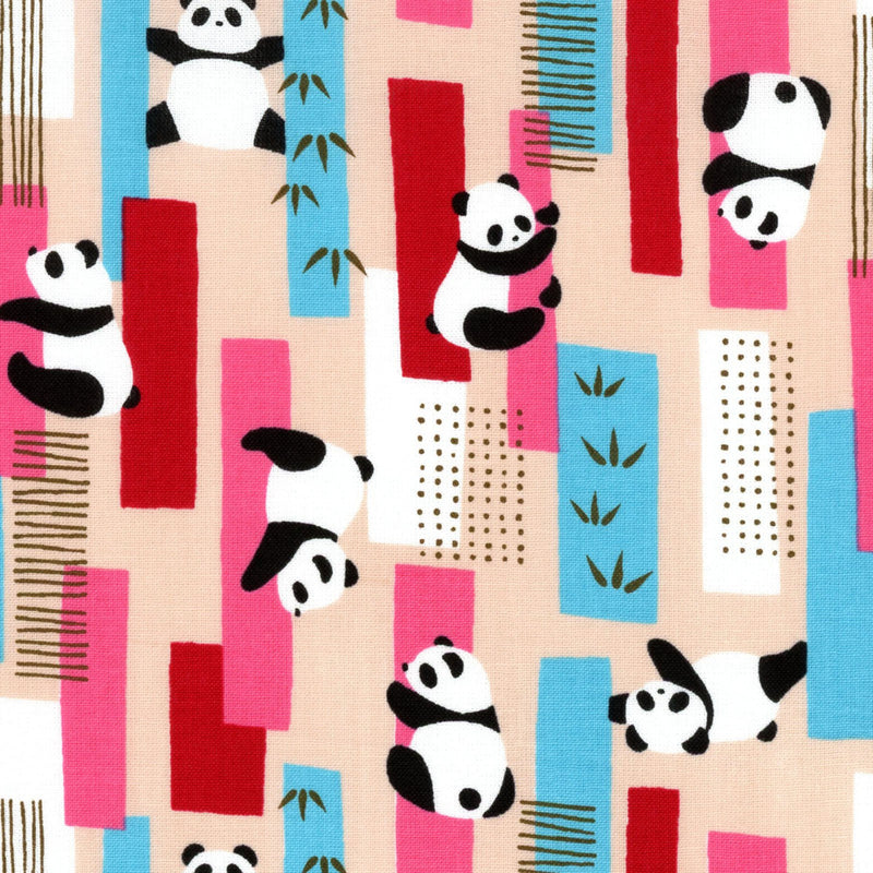 Panda on blue cotton from Art Gallery Fabrics - view 1