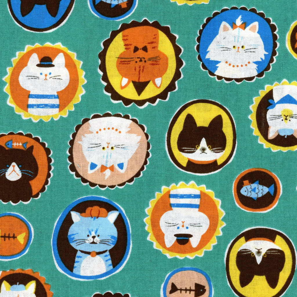 Cute kitty cat fabric on teal green cotton from EE Schenck - view 1