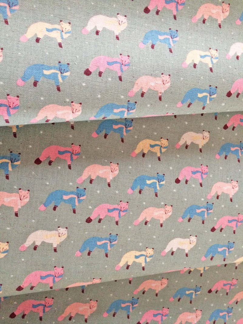 Blue and pink fox on grey canvas fabric from Kokka Fabric - view 3