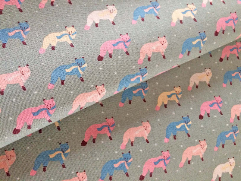 Blue and pink fox on grey canvas fabric from Kokka Fabric - view 4
